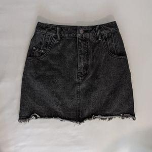 Afends black washed-out denim mini skirt